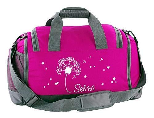Mein Zwergenland Sporttasche Kinder mit Schuhfach und Nassfach Kindersporttasche 41L mit Namen personalisiert, Motiv Pusteblume, in Pink