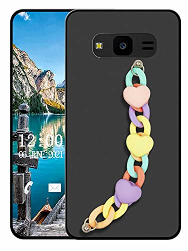 Sunrive Funda Compatible con Samsung Galaxy J7 Core, Colgante movil con Cuerda Lindo Silicona Mate Slim Fit Gel Carcasa Case Bumper Espalda Cover Pulsera(L corazón 1)