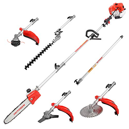 HUYOSEN Gas Pole Saw, 45CC 2-Cycle Pole Saws for Tree Trimming 8.2 FT to 11.4 FT Extension with Multifunctional 5 in 1 Weeder Eater, Hedge Trimmer, Chinsaw, Brush Cutter and 3T Blade