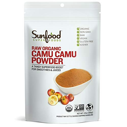 Sunfood Superfoods Camu Camu Powder. Raw, Organic. 100% Pure Super-Berry. Highest Quality. No Fillers or Additives. Great for Drinks, Juices and Smoothies. Potent Natural Source Vitamin C. 3.5 oz Bag