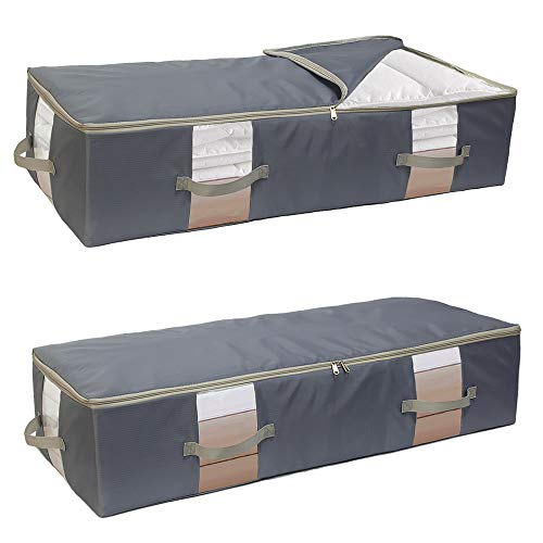 2 PCS Underbed Storage Bags with Zips, 82L Oxford-Cloth bedding bag with Handles, Breathable Clothes Storage Bags, Duvet Storage Bag King Size for Comforters, Jumpers, Sweaters, Quilt, Blankets