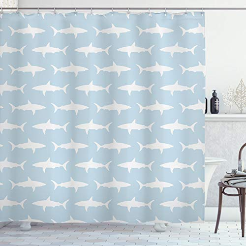 """Ambesonne Sea Animals Shower Curtain, Sharks Swimming Horizontal Silhouettes Powerful Dangerous Wild Life, Cloth Fabric Bathroom Decor Set with Hooks, 75"""" Long, Pale Blue"""