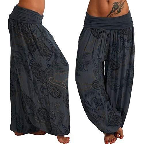 Pantalones Flojos Femeninos para Mujer Pantalones Anchos con Estampado Floral de Verano Pantalones Streetwear Casuales