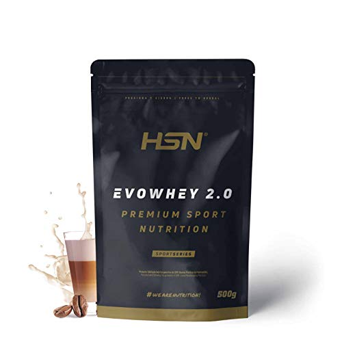 Concentrado de Proteína de Suero Evowhey Protein 2.0 de HSN   Whey Protein Concentrate  Batido de Proteínas en Polvo   Vegetariano, Sin Gluten, Sin Soja, Sabor Café con Leche, 500g