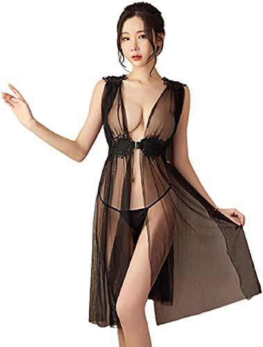 Vestido de tul sexy pijamas underwea perspectiva de encaje pijamas y tul pijamas sexy transparente encaje malla pijamas mujeres s falda larga hueca mano tonto blanco talla-Un tamaño_Negro Fantast