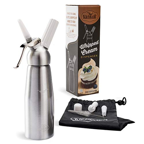 Professional Aluminum Whip Cream Dispenser Canister - Use This Shatterproof Whipped Cream Maker to Top Desserts & Beverages - Includes 3 Decorating Tips, Brush, Storage Bag (N2O Chargers Not Included)