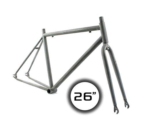 RIDEWILL BIKE Kit de cuadro fijo de 26 x 1-3/8 pulgadas, de acero bruto (disparo fijo) / frameset City Fixed Gear de 26 pulgadas Raw Steel (marco fijo)