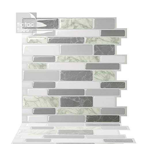 Tic Tac Tiles Peel and Stick Self Adhesive Removable Stick On Kitchen Backsplash Bathroom 3D Wall Sticker Wallpaper Tiles in Polito Design (Grigio, 10 Sheets)