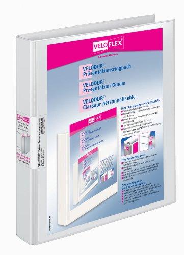 Veloflex 1143190 Präsentations-Ringbuch Velodur, DIN A4, Hebelmechanik, 265 x 315 x 40, mit Außentaschen, weiß