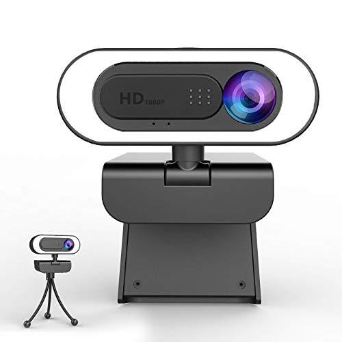 lesvtu Webcam PC con Microfono y Anillo de Luz, Camara Web 1080p con Tapa y Tripode para Ordenador/Portatil/Mac, Web CAM para Youtube, Skype, Zoom, Xbox One, Videoconferencia y Videollamadas