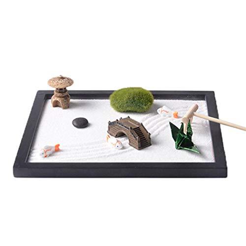 Mini Zen Garden Sand Zen Garden Accessories Natural Stone Ornament for Home...