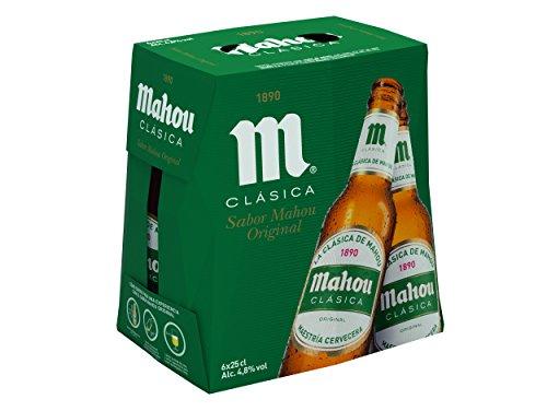 Mahou Clásica - Cerveza Dorada Lager, 4.8% de Volumen de Alcohol - Pack de 6 x 25 cl