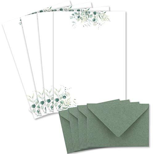 25 Briefbogen-Sets DIN A4 - Naturpapier in Creme mit Eukalyptus-Zweigen - mit Briefumschlägen DIN C6 in Eukalyptus-Grün Briefpapier bedruckbar ideal für Hochzeitseinladungen