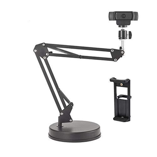 カメラスタンド 調整可能 カメラ アーム なテーブルトップ56cmサスペンションブームシザーアームスタンド、カメラ/ウェブカメラ/リングライト/電話/タブレット用ベース付きスマホ 三脚、LogicoolウェブカメラC925e C922x C922 C930e C930 C920 C615、GoPro Hero 8/7/6/5、Arlo Ultra/Pro/Pro 2 / Pro 3に対応