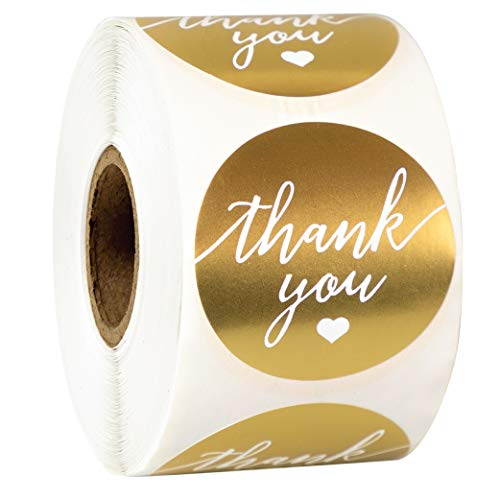 """Gold and White Thank You 1.5"""" Sticker - Roll of 500"""