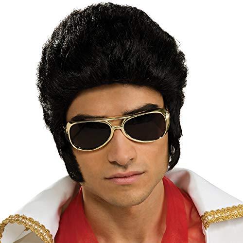 GOODS+GADGETS Grease & Elvis Perücke Party Kultperücke im Elvis- oder Grease Look für Kostüm-Partys und Motto Abende Männer und Frauen Kostüm