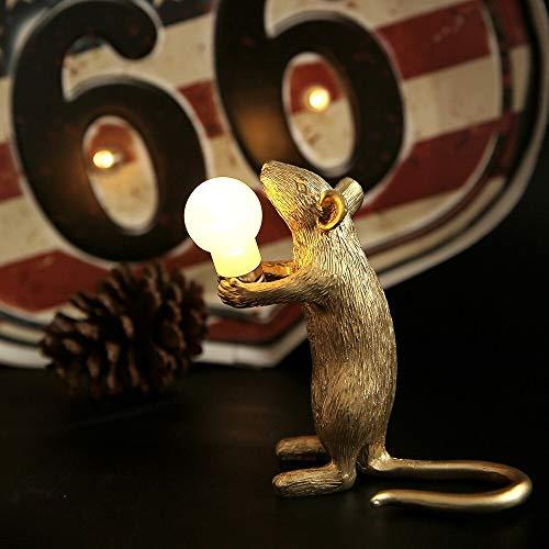 Lámpara de Mesa de ratón de la Resina Moderna LED E12 Mesa de ratón Lámparas de Mesa Nordic Niños Decoración LED Noche Luces EU/AU/EEUU/UK Enchufe (Body Color : Desktop Decor Gold A)