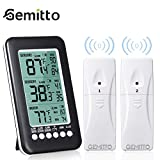 (Upgraded) GEMITTO Digital Indoor Outdoor Thermometer, Accurate 3 Readings LCD Screen Refrigerator Remote Thermometer with 2 Sensors, MAX/ MIN Freezer Alarm Temperature Monitor for Kitchen Home