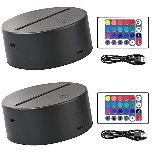 2 Pack 3D Led Night Light Lamp Base, Includes Remote Control, Blank Acrylic and Charger Cable, Adjustable 7 Colors Lights Base