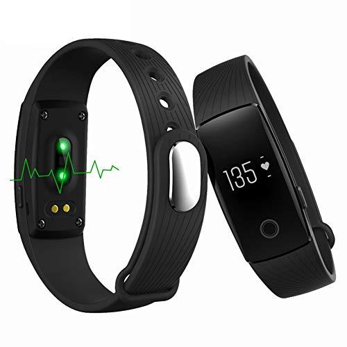 KDSFJIKUYB Smartwatch Bluetooth Smart Band Herzfrequenzmesser Pedometer Armband Fitness Tracker Smartband für Android iOS PK Fitbits cicret Armband, schwarz