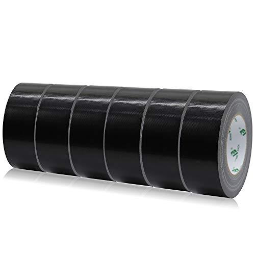BOMEI PACK Mehrzweck Gewebeband Schwarz, Reparaturband 50 mm x 50 m, 6 Rollen