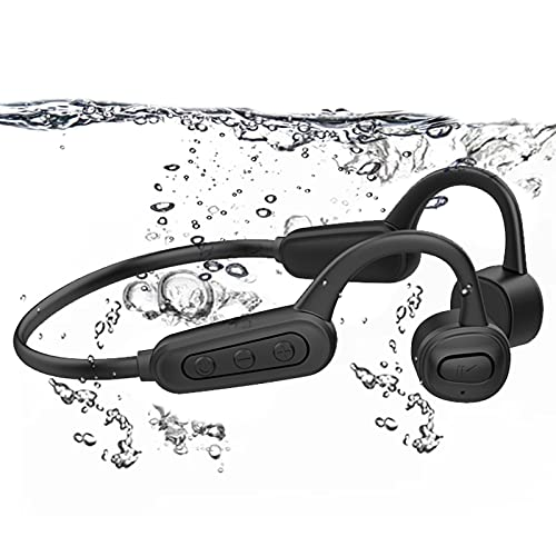 Bone Conduction Swimming Headphones Bluetooth 5.0 IPX8 Waterproof Built in 16GB Mp3 Player Wireless Open Ear Headhset with Mic for Swimming Running Cycling Driving Gym