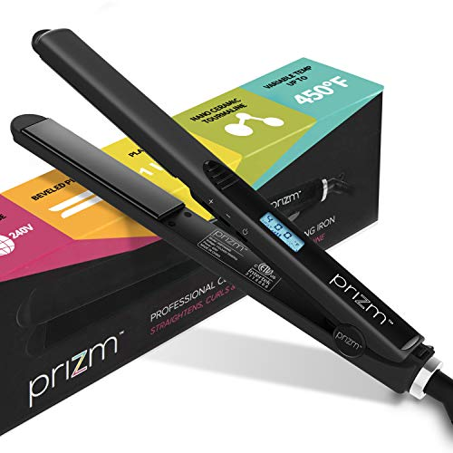 """Prizm Professional 2 in 1 Straightener and Curling Iron (1""""), Nano Ceramic Tourmaline Styling Flat Iron, 3D Floating Plates & Adjustable Temperature, Black"""