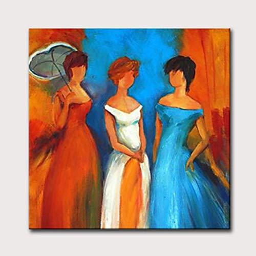 WunM Studio olieverfschilderij op canvas handgeschilderd, abstracte mensafbeelding schilderij 3 cognac jurk vrouwen, luxe grote vintage moderne wooncultuur voor woonkamer slaapkamer kantoor hotel cafe 120×120 cm
