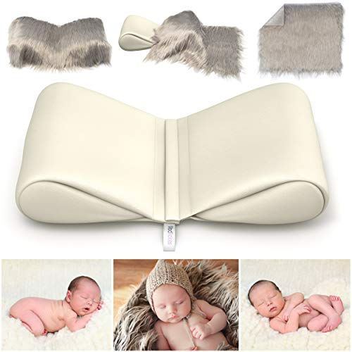 Newborn Photography Props Bundle - Infant Butterfly Posing Pillows Soft Fur Mat - Basket Filler & Poser for Babies - DIY Baby Photoshoot for Professional Photos - Wedge & Blanket - by ModTickles