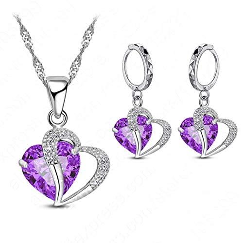 Bluesteer Mujeres 925 Plata de Ley Zirconia cúbica Collar Colgante Pendientes Conjuntos Cartílago Piercing Joyería Boda Diseño de corazón, púrpura