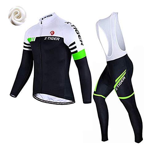 X-TIGER da Ciclismo Maglietta Manica Corta da Uomo + 5D Gel Pantaloncini Corti Imbottiti con pettorina Set di Abbigliamento Ciclista (Verde e Bianco Inverno Maglia+Pettorina Pantalone, XXL(CN)= XL(EU)
