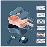 Mandolina de Cocina Profesional Cortador de Verdura 6 en 1 ,Multifuncional Ralladores de Cocina Acero Inoxidable ,para frutas y verduras, Mandolina(Color:azul marino)