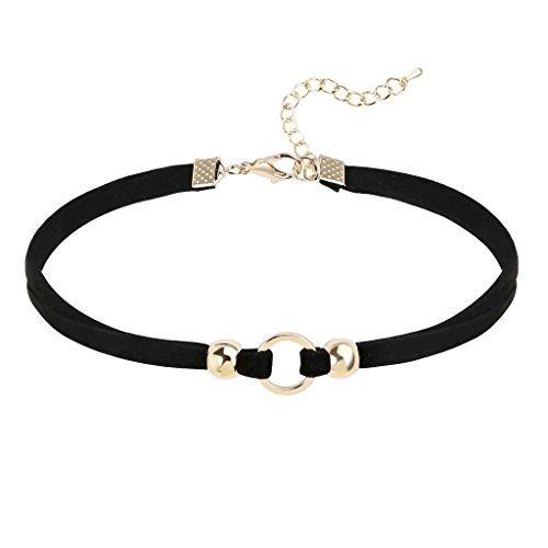 Daesar Joyería Mujer Joven Gargantilla Redondo Bola Terciopelo Velvet Oro Negro Choker Necklace Cadena 31.4+6.3CM; Adjustable