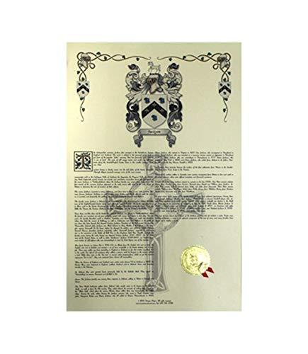Lugris escudo de armas, Escudo del familia y nombre historia–Celebración Scroll 11x...