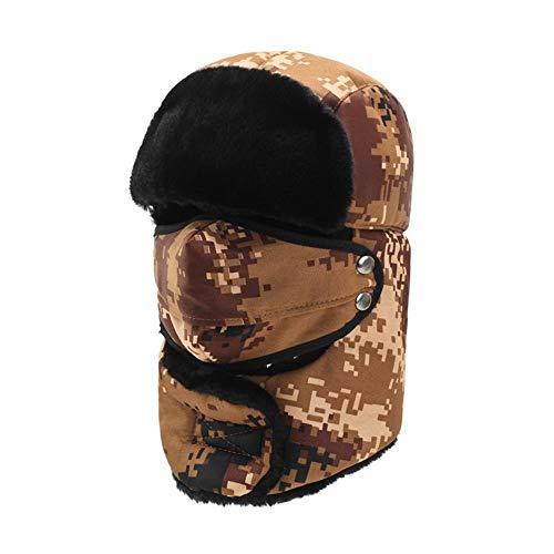 OSL Sombrero de Invierno Sombrero Sombrero Sombrero Sombrero, Feng Sombrero Camuflaje Grueso Oreja protección Oreja protección, Mujer Ciclismo Ciclismo algodón Sombrero para Ancianos,marrón,c.