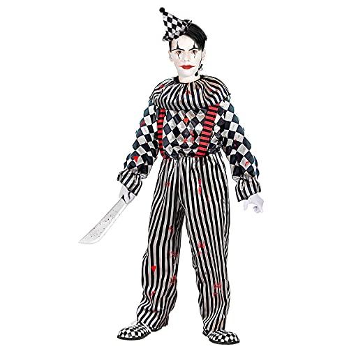 Widmann - Costume per bambini retrò clown, tuta con collo e bretelle, copricapo, muso di sangue, a quadri, a righe, psichico, killer, costume, travestimento, feste a tema, carnevale, Halloween
