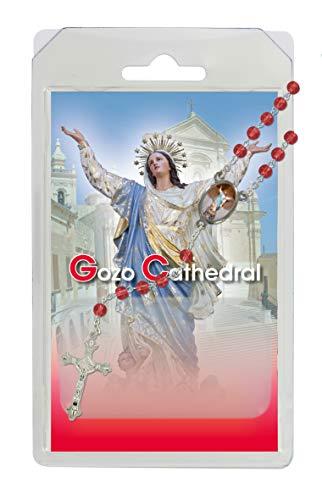 Rosario de la Virgen María de la catedral de Goz, de semicristal rojo con oración en inglés