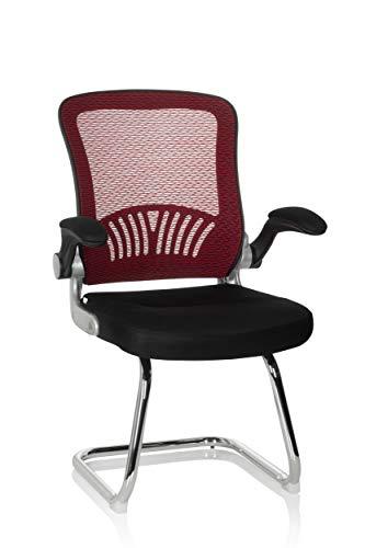 hjh OFFICE 706819 Besucherstuhl Flyer PRO V Netzstoff Schwarz/Rot Freischwinger Stuhl mit Lordosenstütze, Armlehnen klappbar