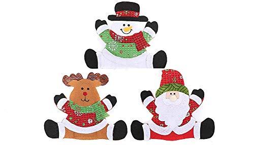 3pcs Christmas Tableware Bags, Santa Snowman Reindeer Burlap Silverware Holders Tableware Bags for Christmas Party Decoration