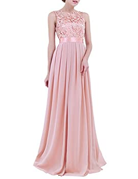 YiZYiF Women Crochet Lace Wedding Bridesmaid Formal Gown Prom Party Maxi Dress Pearl Pink 4