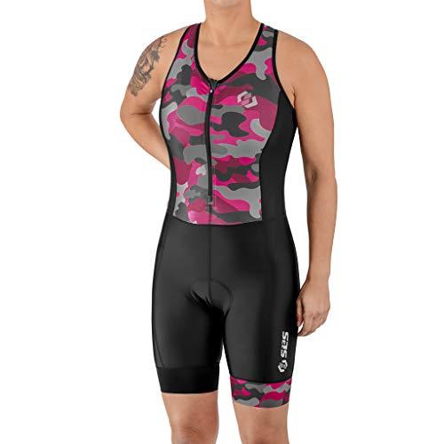 SLS3 Women's Triathlon Suit - Womens - Tri Suits - Trisuit - Slim Athletic Fit FX (No Shelf Bra) (Black/Sangria Camo, S)
