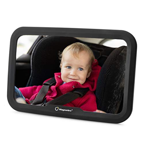 OMORC Car Seat Mirror for Baby,Shatterproof Plastic Glass Baby Car Rear View to