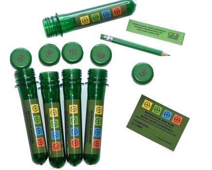 geo-versand 5 x Petling 13cm + 5 x wasserfeste Logbücher + Stift + Aufkleber komplett Set Paket Geocaching Cache Versteck grün 13 cm