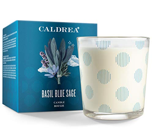 Caldrea Scented Candle, Made with Essential Oils and Other Thoughtfully Chosen Ingredients, 45 Hour Burn Time, Basil Blue Sage Scent, 8.1 oz (Packaging May Vary)