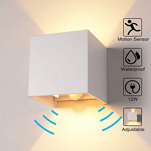 Wandleuchte Bewegungsmelder Aussen/Bewegungsmelder Innen LED Wandlampe, 12W Warmes Licht Wasserdicht Verstellbare Aussenlampe, Wandleuchte Sensor für Garten/Flur/Weg Veranda Hell-Eckig (Weiß)