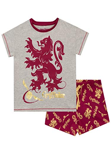 HARRY POTTER Pijamas de Manga Corta para Niñas Gryffindor Rojo 8-9 Años