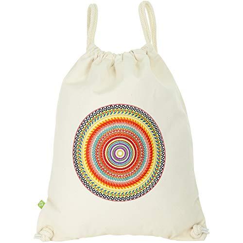 Bolsa de deporte natural con mandala, africana, bolsa de gimnasio para hombre, bolsa hipster, mochila para hombre/mujer, bolsa de deporte, niña, moderna bolsa de playa de algodón puro orgánico