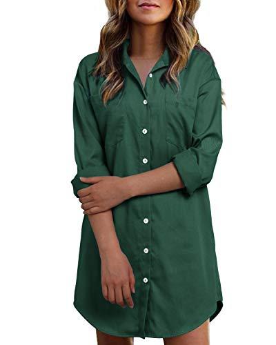 Kidsform Vestidos para Mujer Blusa de Manga Larga Vestidos de Camisa Vaquera Vestidos Botones de Algodón Cambray con Bolsillos D-Verde Oscuro S
