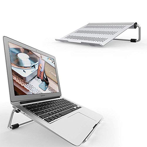 Adjustable Laptop Stand, Lamicall Laptop Riser : Ventilated Laptop Holder Compatible with Laptops Such as Mac Book Air Pro, Dell XPS, Microsoft, HP, Lenovo More Laptops up to 17 inch - Silver