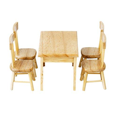 DYNWAVE 1/12ドールハウス家具 ダイニングテーブル 椅子 チェアモデル ミニチュア家具 5点セット 木製